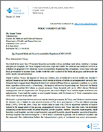 image of THA comment letter