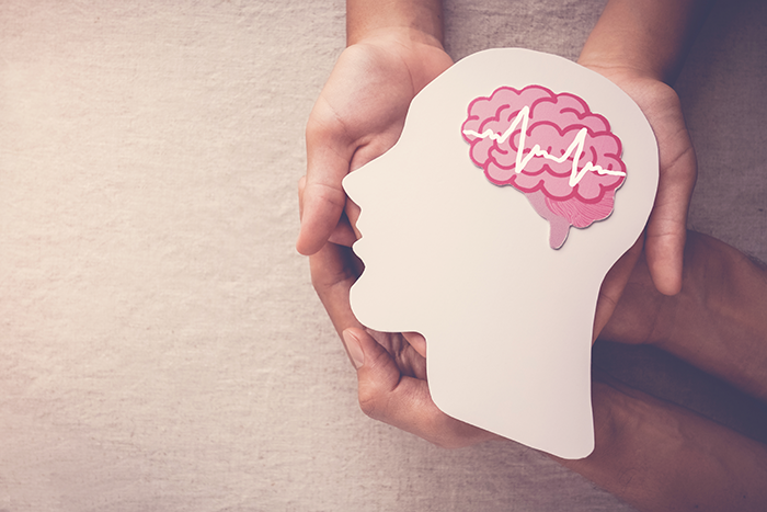 Adult and child hands holding an encephalography brain paper cutout