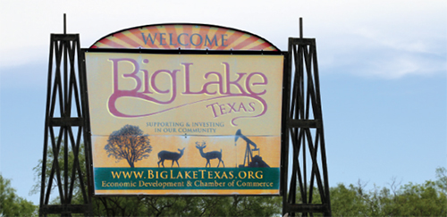 Chamber of Commerce sign for Big Lake, Texas