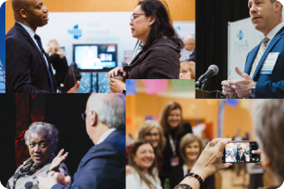 photo collage of people interacting during conference