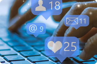 image of hands typing on keyboard with various social icons floating above in speech balloons
