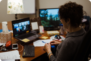 photo of a person watching the virtual conference on a laptop from her desk