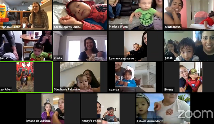 photo of the various panels of a Zoom meeting