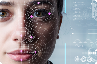 the face of a woman with digital markings overlaid