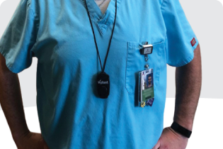 photo of a health care worker in scrubs and stethoscope