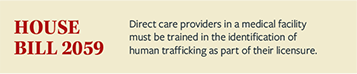 Text from House Bill 2059, Direct care providers in a medical facility must be trained in the identifaction of human trafficking as part of their licensure