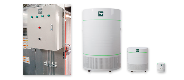 photo of the IVP family of products, from the large cabinet to a small desktop unit