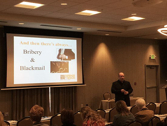 Personal defense expert Jeff McKissick, president of Defense By Design, presenting at the March 2017 Hot Topics Forum